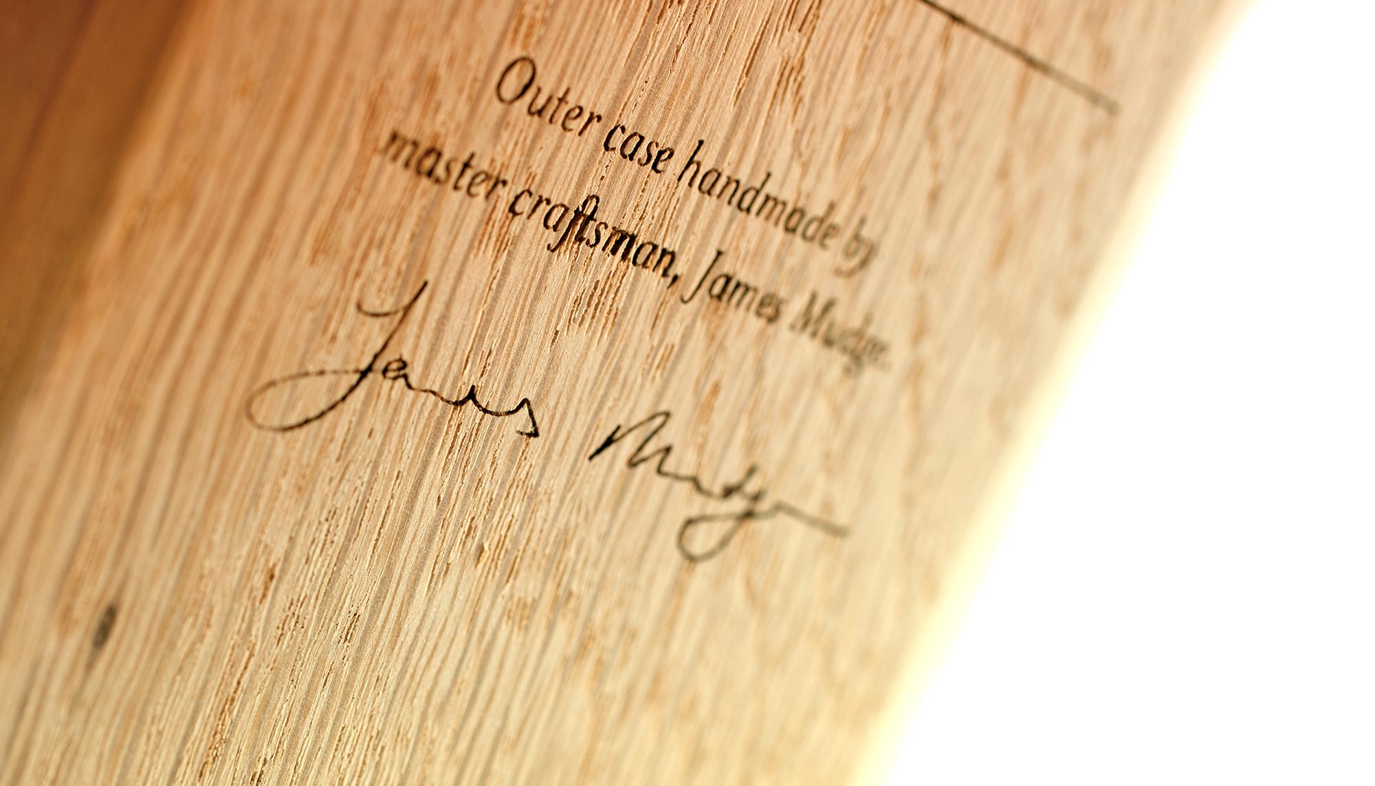Close up of James's signature