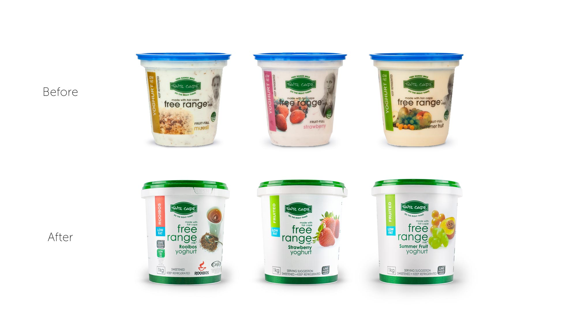 Fair Cape Yoghurt Packaging Design Before and After