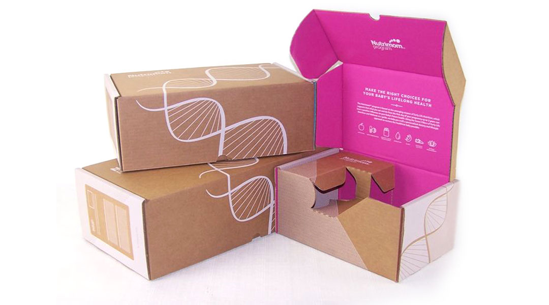 Printed boxes with flood coating inside